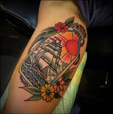 Ship In Bottle And Flower Tattoos