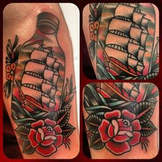 Ship In Bottle And Rose Tattoos