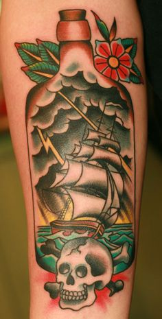 Ship In Bottle And Skull Tattoos