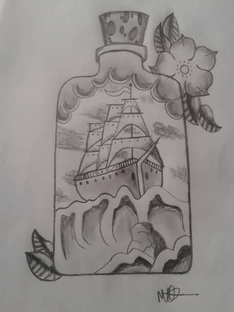 Ship In Bottle Tattoo Drawing (2)