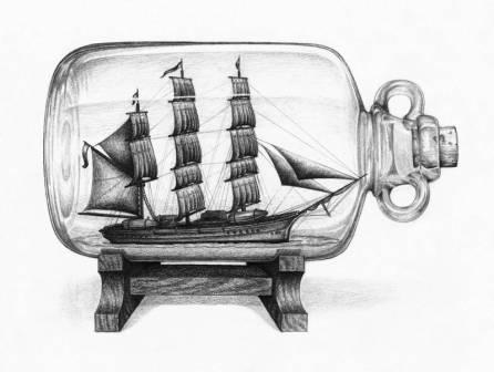 Ship In Bottle Tattoo Drawing