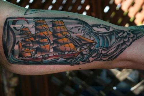 Ship In Bottle Tattoo On Arm