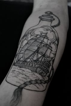 Ship In Bottle Tattoo On Forearm (2)