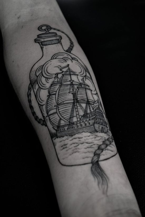 Ship In Bottle Tattoo On Forearm