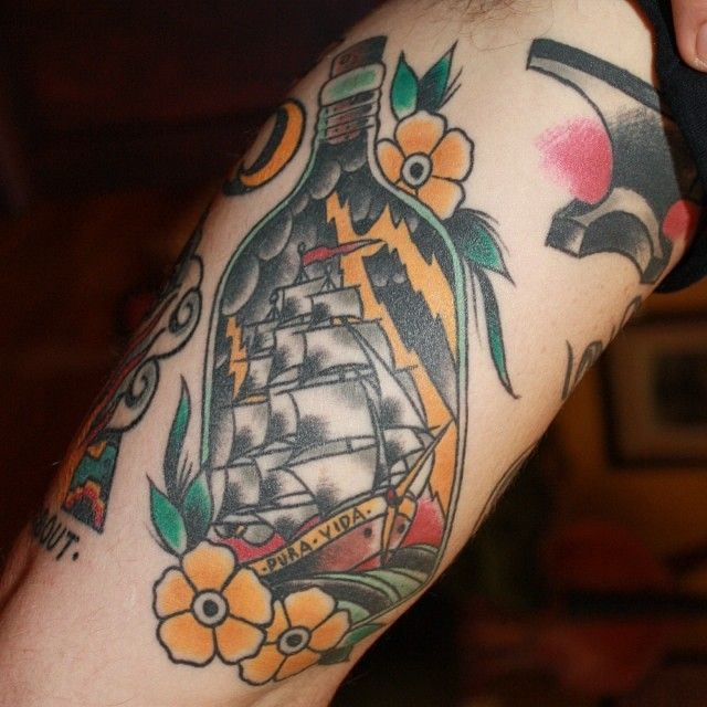 Ship In Bottle Tattoo With Small Flowers (2)