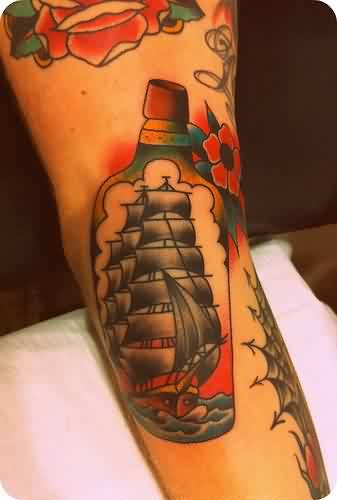 Ship In Bottle Traditional Tattoo
