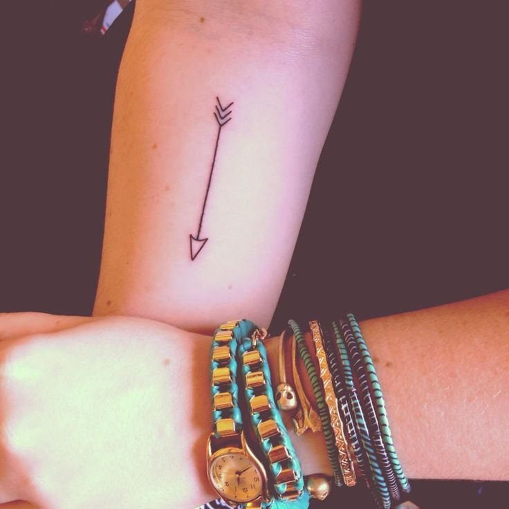 Simple Black Arrow Tattoo On Forearm