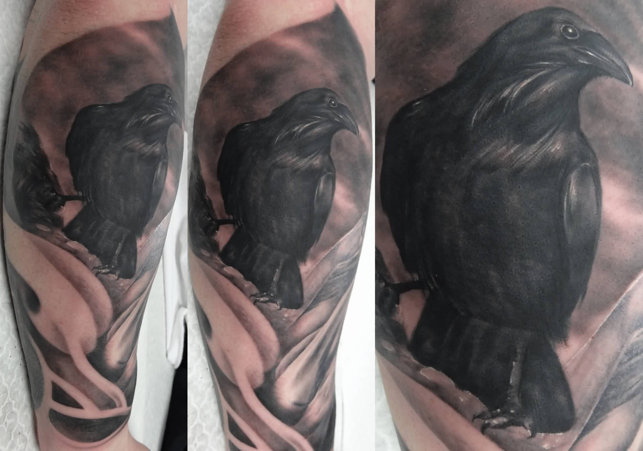 Sitting Crow Portrait Tattoos
