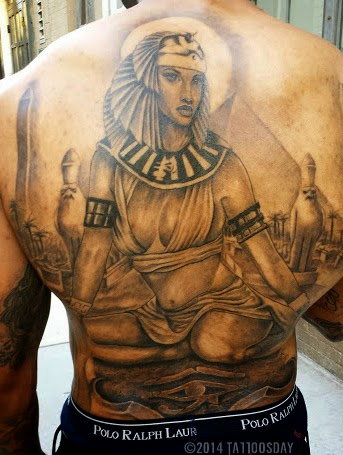 Sitting Egyptian Queen Portrait Tattoo On Full Back