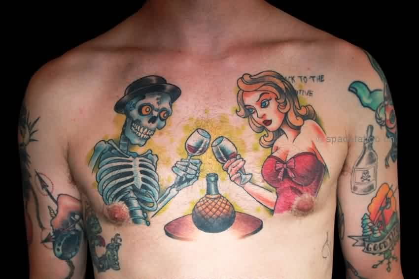 Skeleton And Girl With Glass Tattoo On Chest