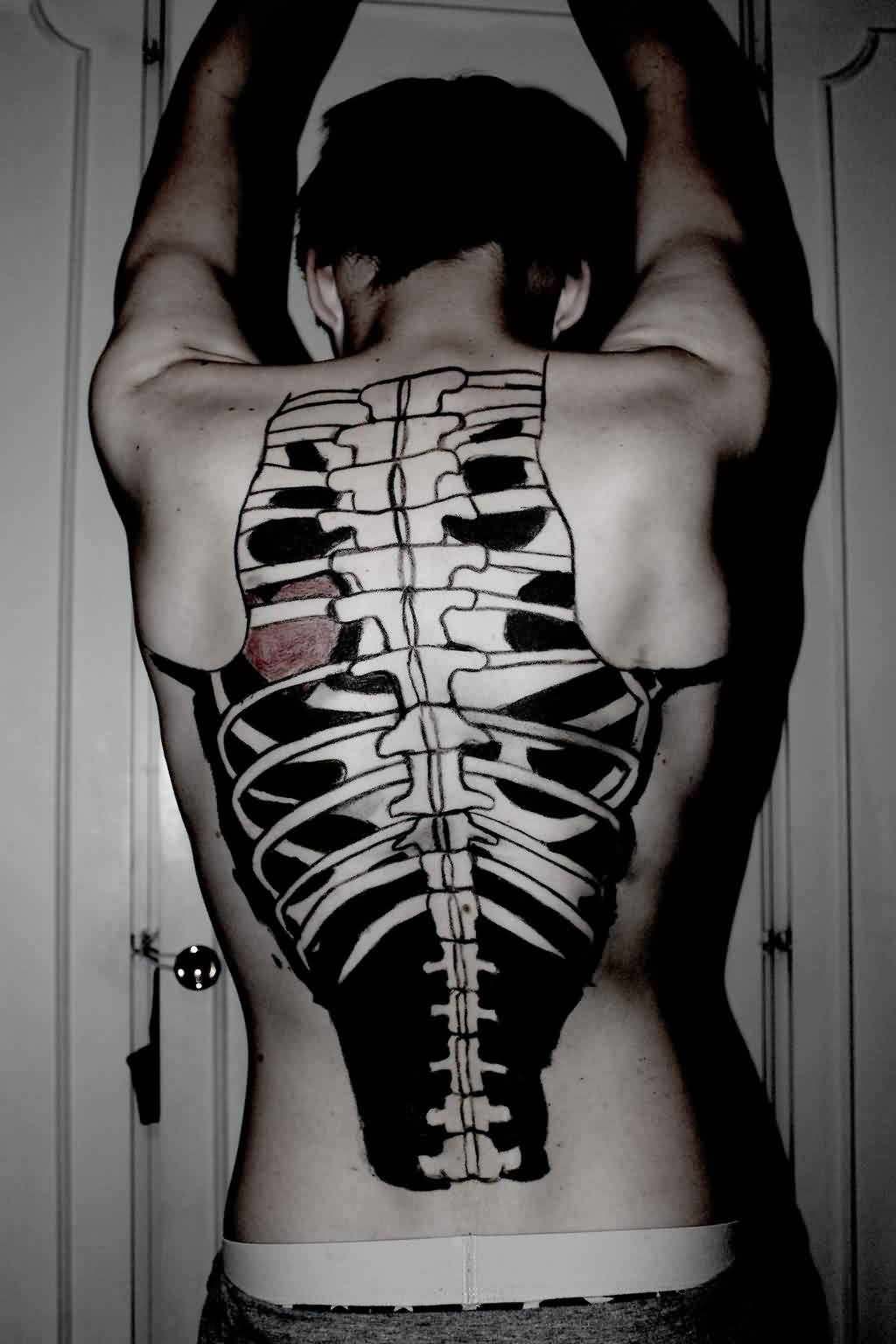 Skeleton Bones Tattoo On Backbody