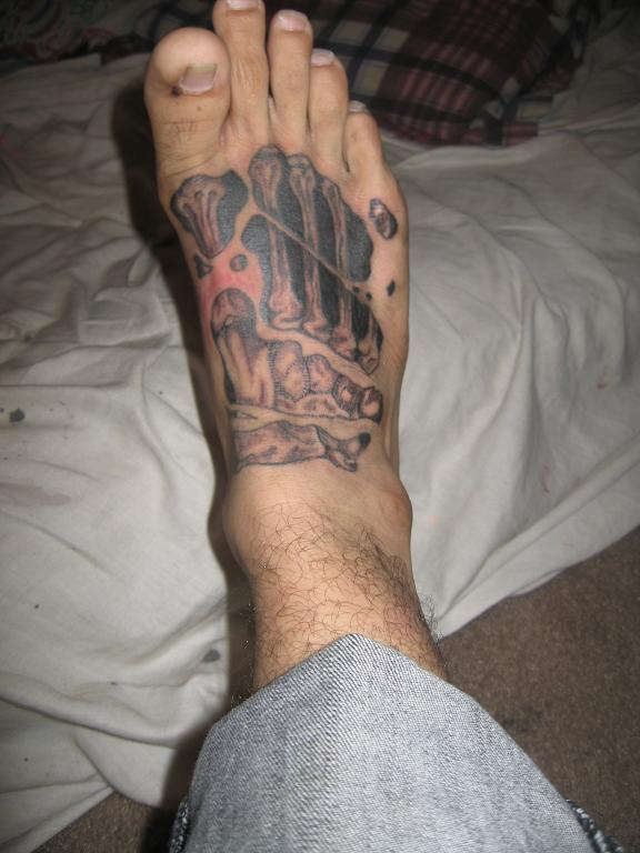 Skeleton Bones Tattoo On Foot (2)
