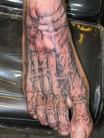 Skeleton Bones Tattoo On Foot
