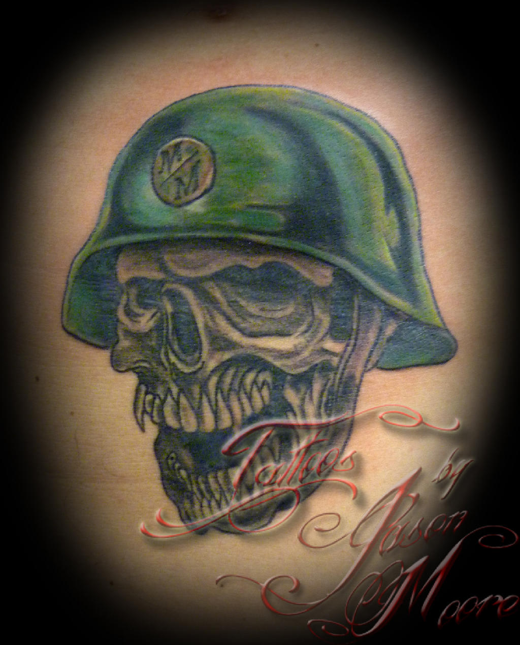 Skull And Green Helmet Tattoos