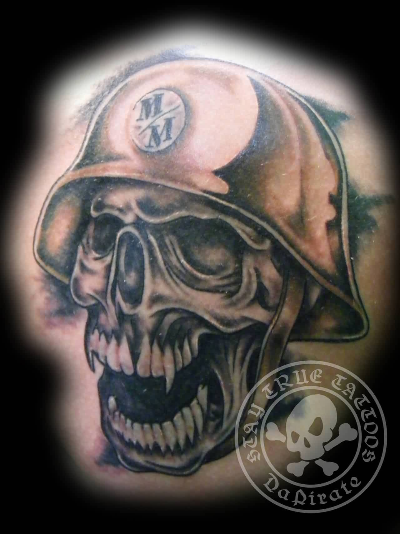 Skull And Helmet Tattoo Image