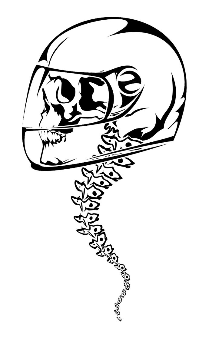Skull Backbone Helmet Tattoo Design