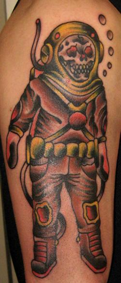 Skull Diver Wearing Helmet Tattoo On Biceps