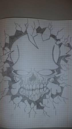 Skull Glass Brake Tattoo Design