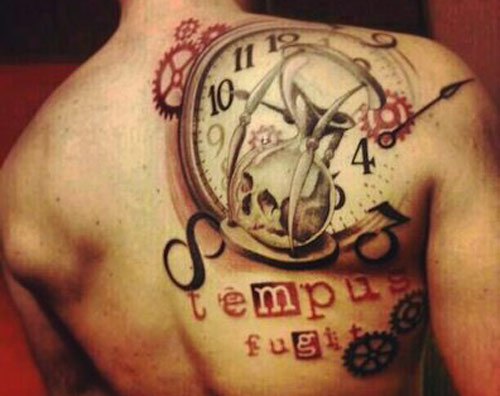 Skull Hour Glass And Clock Tattoos On Back Shoulder