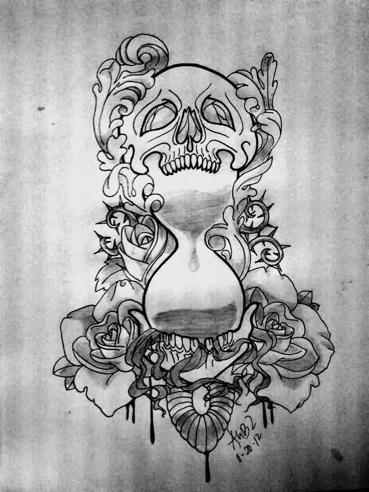 Skull Hour Glass And Roses Tattoos Flash