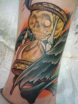 Skull Hour Glass With Wings Tattoo