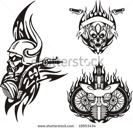 Skull In A Horned Helmet Motorcycle Wheels Tribal Bikes Tattoo Designs