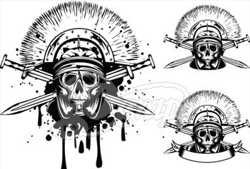 Skull In Helmet And Crossed Sword Tattoo Designs