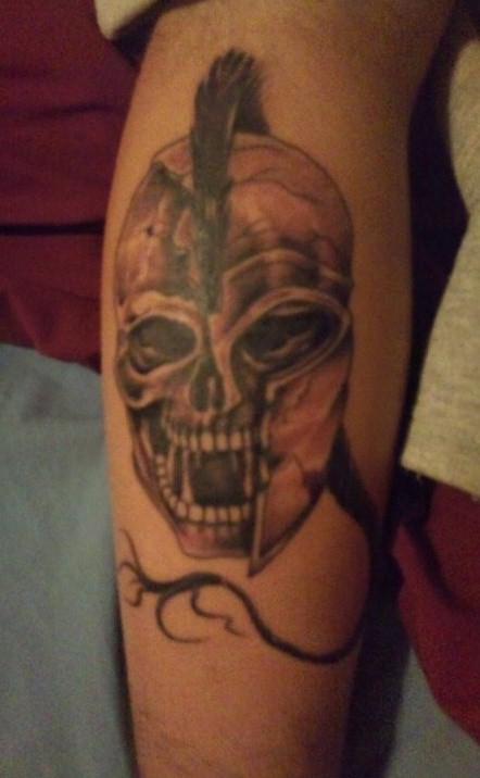 Skull In Helmet Tattoo On Leg (2)