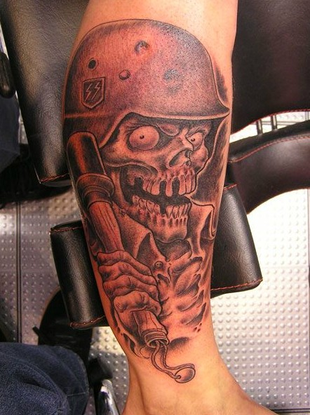 Skull In Military Helmet Tattoo On Leg