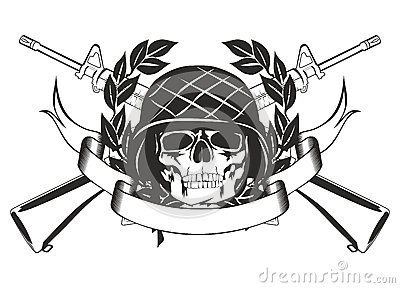 Skull Military Helmet And Gun Tattoo Designs