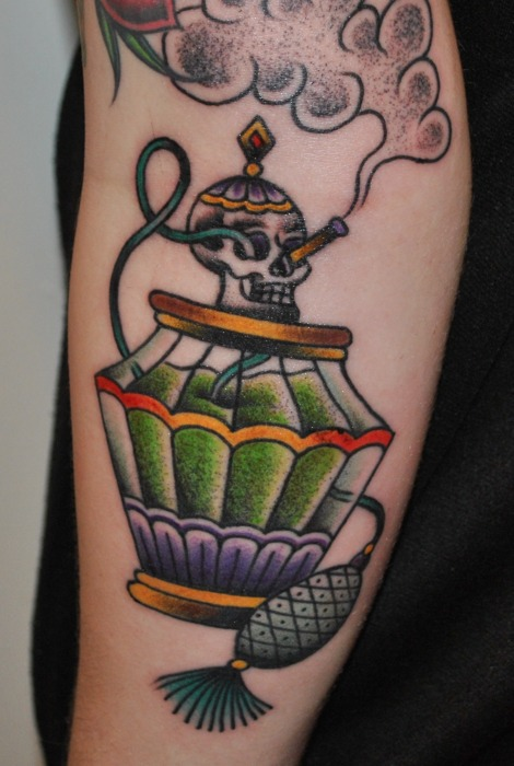 Skull Perfume Bottle Tattoo