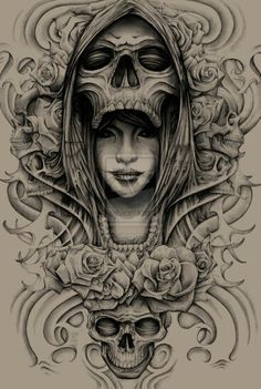 Skull Queen And Roses Tattoo Designs