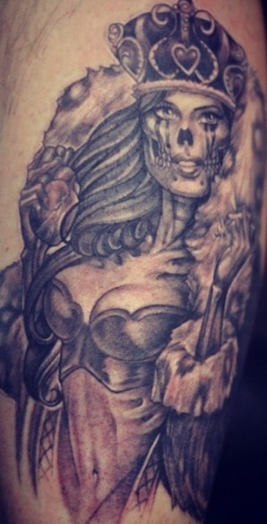 Skull Queen With Heart Tattoo