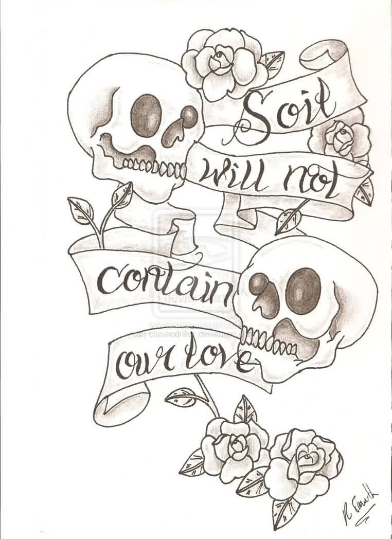 Skull Ribbon And Roses Tattoo Designs