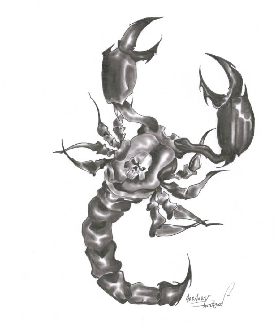 Skull Scorpion Tattoo Design