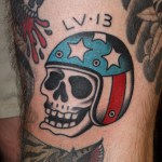 Skull Wearing American Flag Helmet Tattoo