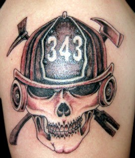 Skull Wearing Firefighter Helmet Tattoo