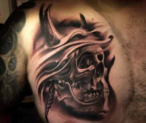 Skull Wearing Horned Helmet Portrait Tattoo On Chest