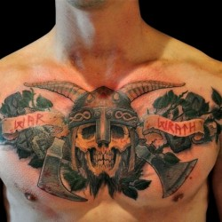 Skull Wearing Horned Helmet Tattoo On Chest