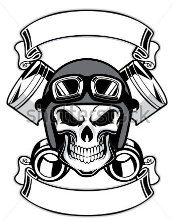 Skull Wearing Retro Motorbike Helmet Tattoo Design
