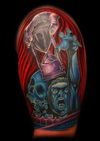 Skull With Man Reaching For Hour Glass Tattoo On Half Sleeve
