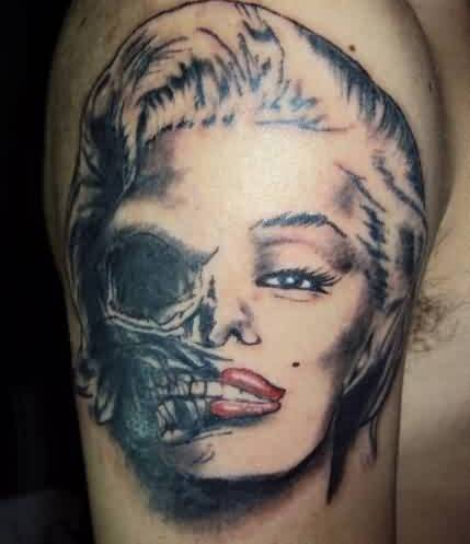 Skull Woman Portrait Tattoo On Shoulder