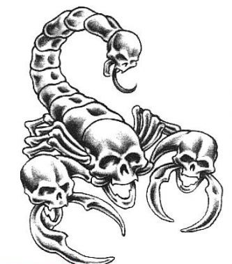 Skulls Scorpion Tattoo Design