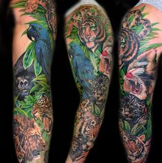 Sleeve Of Animal Tattoos
