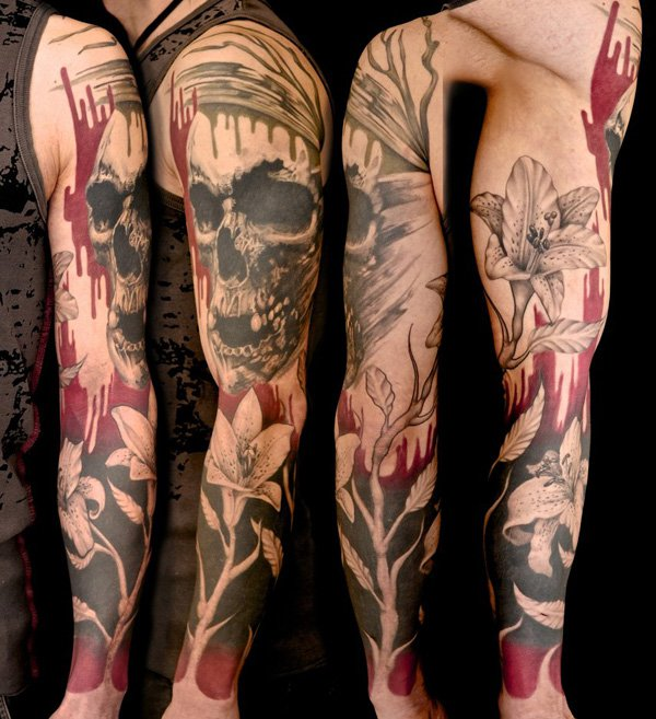 Sleeve Of Watercolor Tattoos