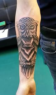 Small Pyramid And Owl Tattoos On Forearm