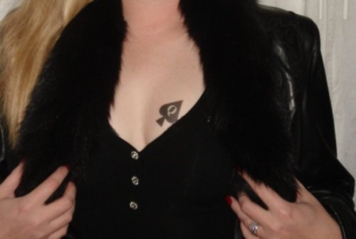 Small Queen Of Spade Tattoo On Left Breast