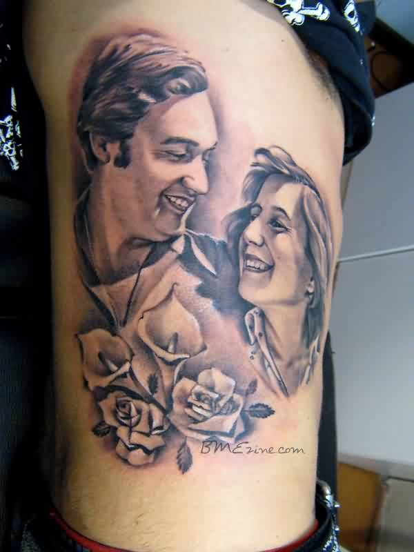 Smiling Couple And Flowers Portrait Tattoos