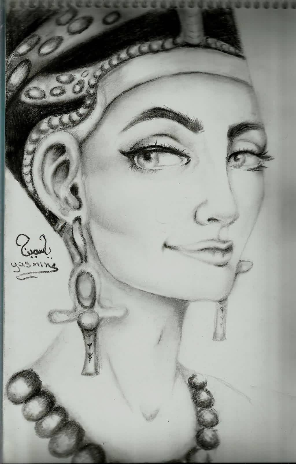 Smiling Queen Nefertiti Tattoo Photo