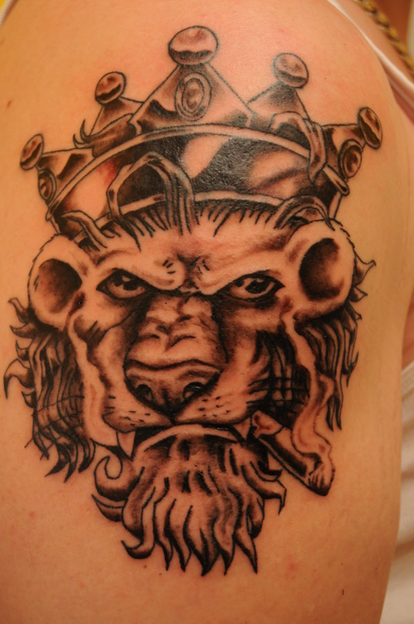 Smoking Animal Wearing Crown Tattoo